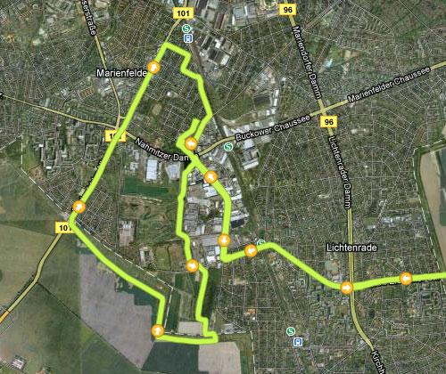 Karte von der Strecke