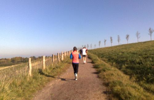 Läufer auf Feldweg hinauf zum Deich