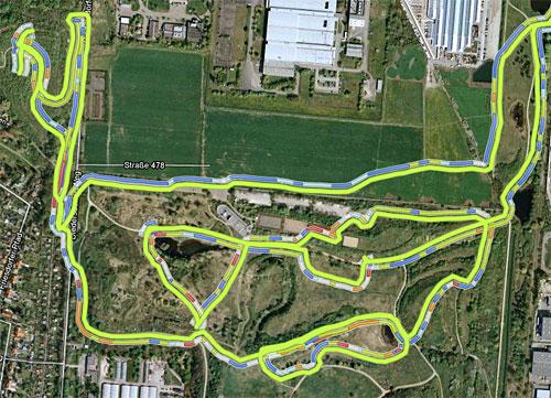 Karte mit eingezeichnetem Lauf durch den Freizeitpark Marienfelde