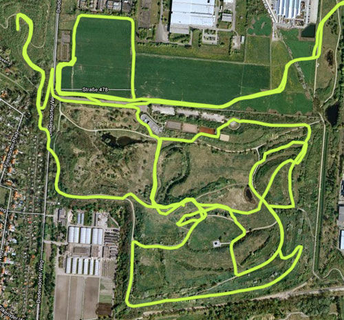 Luftbild mit eingezeichneter Laufstrecke