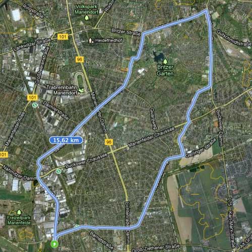 Karte mit Strecke Britzer Garten