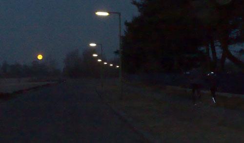 Läufer, im Hintergrund ein leuchtender Vollmond