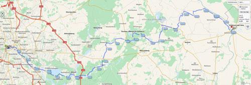Karte mit Strecke der Laufstaffel