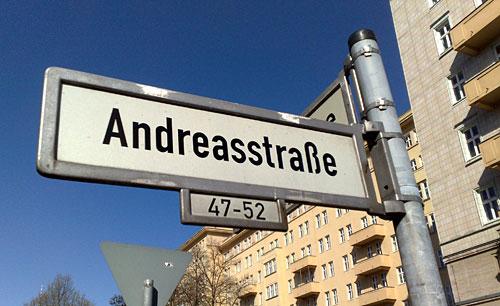 Straßenschild Andreasstraße