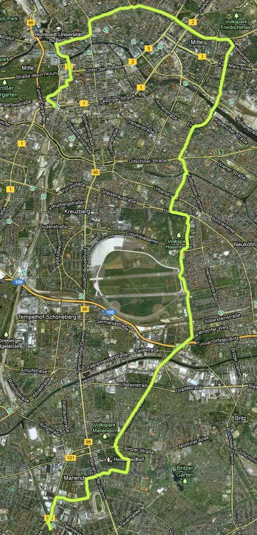 Lauf-Strecke von Marienfelde zum Berliner Halbmarathon