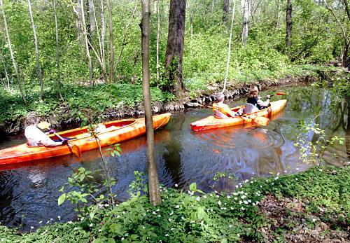 Paddelboote auf einem Spreewald-Kanal