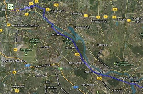 Strecke der Etappe 1 der Lauf-Staffel von Berlin nach Kostrzyn