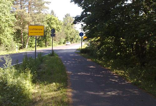 Ortsschild Lichtenow