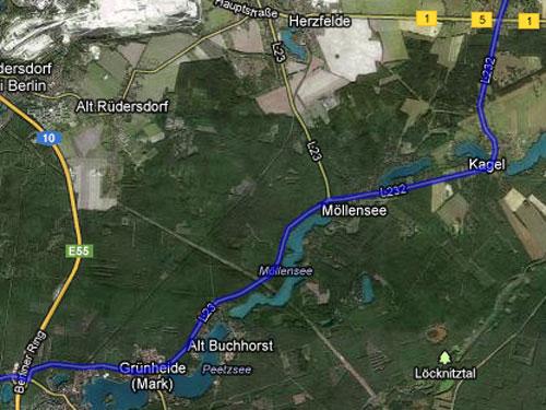 Karte mit der Strecke der Etappe 3 der Staffel von Berlin nach Kostrzyn