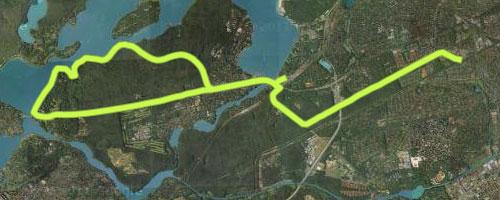Karte mit Laufstrecke vom S-Bahnhof Zehlendorf zur Glienicker Brücke und von dort zum S-Bahnhof Wannsee