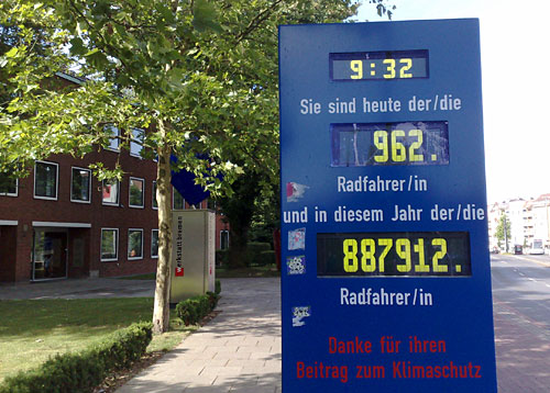 Anzeigetafel in Bremen: Sie sind der soundsovielte Radfahrer