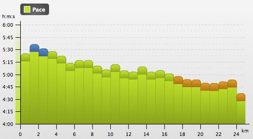 Grafik mit Laufgeschwindigkeit des langen Laufs