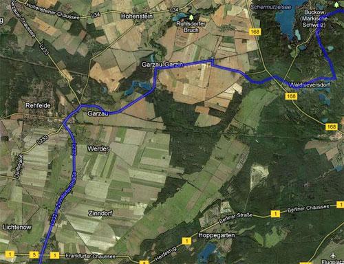 Karte mit der Strecke der Etappe 4 der Staffel von Berlin nach Kostrzyn