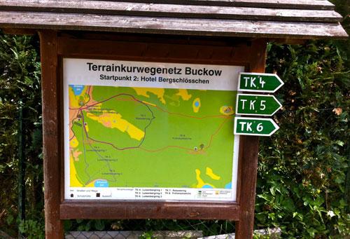 Karte mit dem Kurwegenetz in Buckow