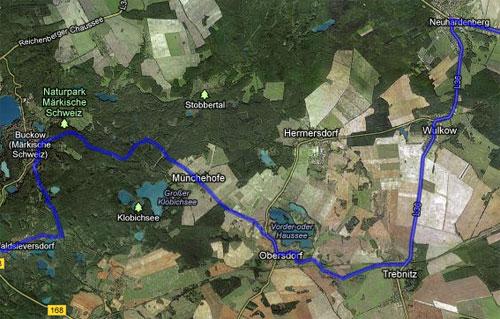 Karte mit der Strecke der Etappe 5 der Staffel von Berlin nach Kostrzyn