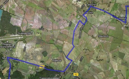 Karte mit der Strecke der Etappe 6 der Staffel von Berlin nach Kostrzyn
