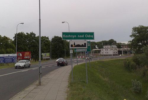 Ortsschild Kostrzyn nad Odra