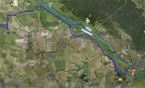 Karte mit der Strecke der Etappe 7 der Staffel von Berlin nach Kostrzyn