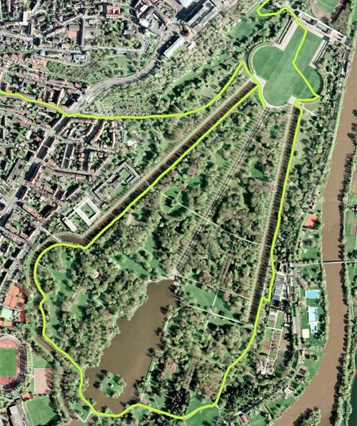 Laufstrecke (Detail) durch die Karlsaue in Kassel