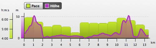 Grafik mit Tempo-Angaben und Höhenprofil