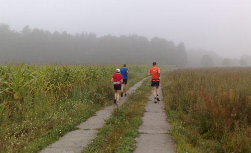 Läufer vor nebliger Landschaft