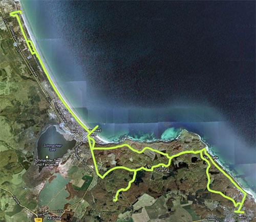 Karte mit der Strecke Sellin - Binz - Prora - Binz - Schloss Granitz - Sellin