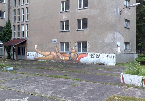 Graffiti: liegender Bär zwischen den Worten Berlin und Prora