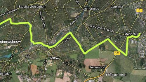 Streckenkarte Marienfelde nach Potsdam, Teil 1