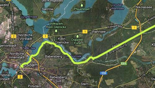 Streckenkarte Marienfelde nach Potsdam, Teil 2
