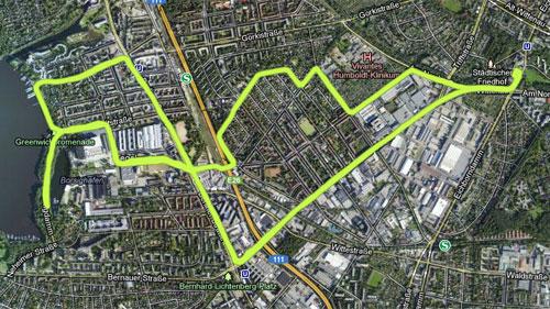 Karte mit der Halbmarathon-Strecke