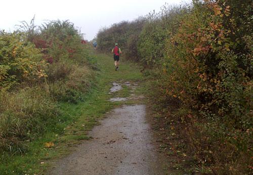 Läufer laufen einen Hügel hinauf