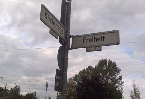 Straßenschild Freiheit