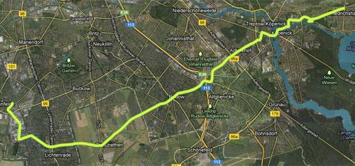 Karte mit Lauf-Strecke
