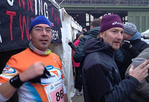 Läufer nach und vor dem Lauf