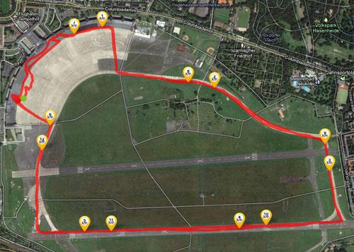 Grafik mit Strecke der Berliner Marathonstaffel auf dem Tempelhofer Feld