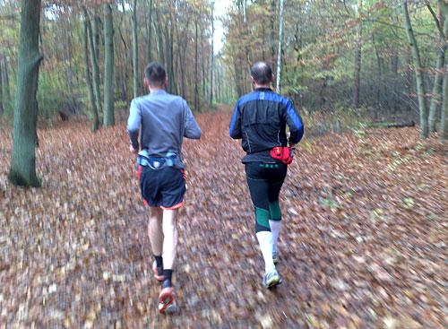 Zwei Läufer im Herbst-Wald