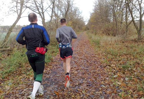 Läufer auf laubbedecktem Weg