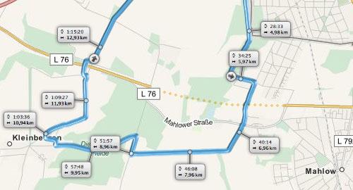 Karte mit dem Verlauf des in Bau befindlichen Verbindungsstücks der L76 bei Mahlow