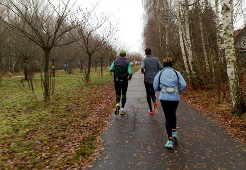 Läuferin und Läufer auf dem Mauerweg an der Japanischen Kirschbaumallee