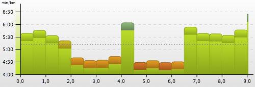 Grafik mit Tempo der einzelnen Intervalltraining-Einheiten