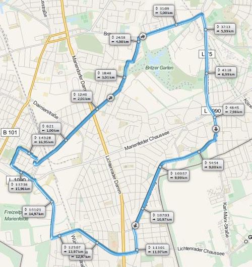 Grafik mit Laufstrecke von Marienfelde nach Britz und über Buckow und Lichtenrade wieder zurück