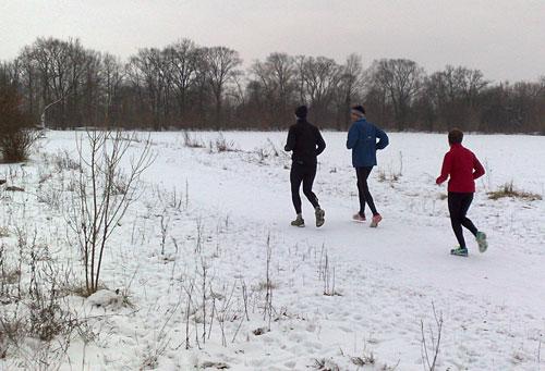 Läufer bei langem Lauf am Berliner Mauerweg