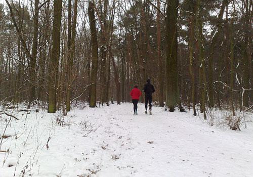 Läuferin und Läufer bei Schnee im Wald