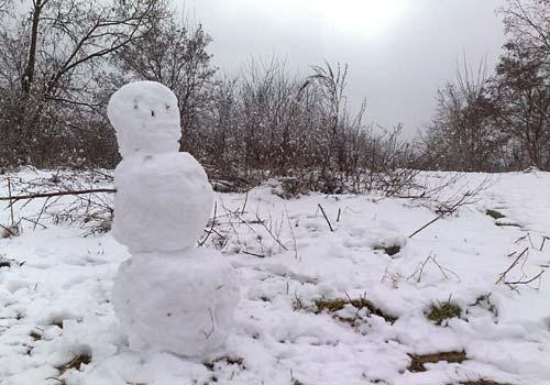 Ein Schneemann auf dem Schlehenberg-Gipfel