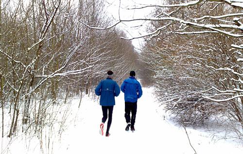 Winter-Landschaft mit Läufern