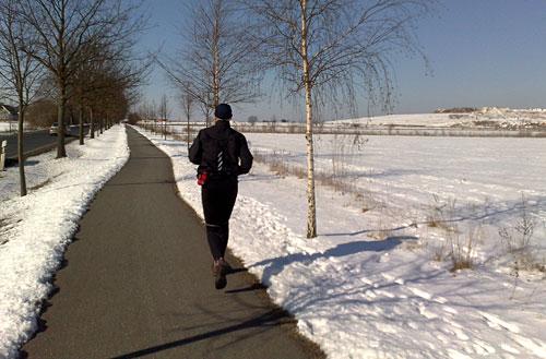 Mit eiskaltem Rückenwind nach Hause laufen
