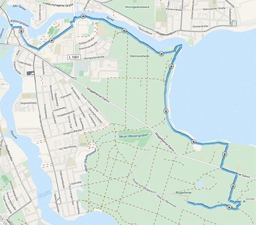 Strecke des Köpenicker Altstadtlauf 2013 (10-km-Wettkampf)
