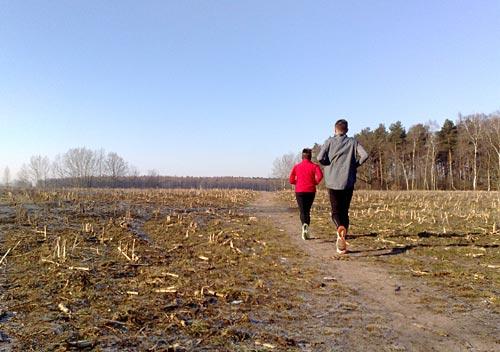 Laufen am ersten Frühlingstag