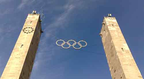 Olympische Ringe am Olympiastadion Berlin