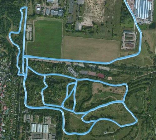 Meine Laufstrecke beim Hügellauf durch den Freizeitpark Marienfelde